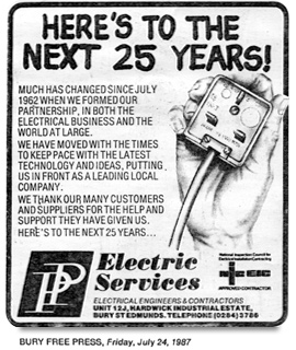 PP Electric Services | Bury Free Press Article from 1987